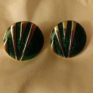 Vintage Green & Gold Enamel Earrings